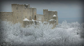 The UNESCO World Heritage Site Visby.GN. Visby medieval citywall during winter .UNESCO World Heritage Site Gotland Sweden.GN royalty free stock image