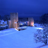 The UNESCO World Heritage Site Visby.GN. Visby medieval citywall during winter with ocean in the background.UNESCO World Heritage Site Gotland Sweden.GN royalty free stock image