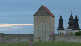 The UNESCO World Heritage Site Visby on Gotland in Sweden. Visby medieval citywall during summer UNESCO World Heritage Site Gotland Sweden stock footage