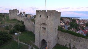 The UNESCO World Heritage Site Visby in Sweden, aerial footage stock video footage