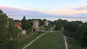 The UNESCO World Heritage Site Visby in Sweden, aerial footage stock video