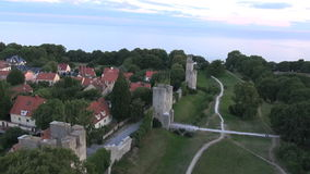 The UNESCO World Heritage Site Visby in Sweden, aerial footage stock footage