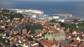 The UNESCO World Heritage Site Visby in Sweden, aerial footage Stock Image