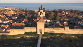 The UNESCO World Heritage Site Visby in Sweden, aerial footage Royalty Free Stock Photo