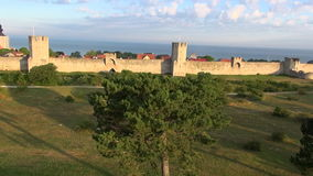 The UNESCO World Heritage Site Visby in Sweden, aerial stock video footage