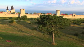 The UNESCO World Heritage Site Visby in Sweden, aerial stock video