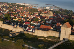 The UNESCO World Heritage Site Visby in Sweden, aerial Stock Photo