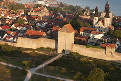 The UNESCO World Heritage Site Visby in Sweden, aerial Stock Image