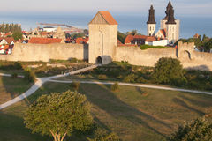 The UNESCO World Heritage Site Visby in Sweden, aerial Royalty Free Stock Image
