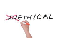 Unethical till etiskt Arkivfoton