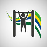 Uneven bar sportsman flag background design Stock Photography