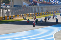 Uneven begin of the race of 125cc of the CEV Championship Royalty Free Stock Image