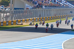 Uneven begin of the race of 125cc of the CEV Championship Royalty Free Stock Photos
