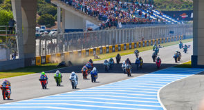 Uneven begin of the race of 125cc of the CEV Championship Stock Images