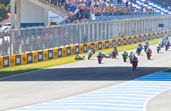 Uneven begin of the race of 125cc of the CEV Championship Royalty Free Stock Images