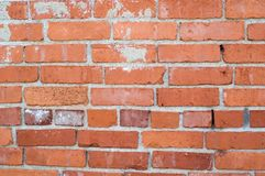 Uneven Red Brick Wall. And Mortar Stock Photography