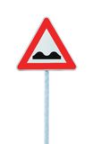 Uneven Road Sign With Pole Isolated On White Stock Photos