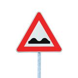Uneven Road Sign With Pole Isolated On White Stock Photo