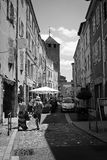 Uneventfullness on streets of Cluny Royalty Free Stock Photography