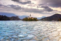 Unexpected cold snap in autumn on Lake Bled stock photos