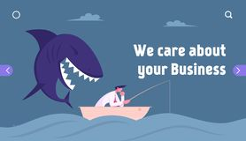 Free Unexpected Difficulties, Crisis Website Landing Page. Thoughtful Businessman Fishing In Ocean, Huge Shark Sneak Up Stock Image - 168529021