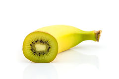 Unexpected fruit ending. Super fruit. Banana and kiwi combination Royalty Free Stock Photos