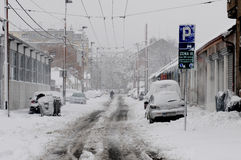 Unexpected massive snowfall. SERBIA, BELGRADE - DECEMBER 9, 2012: Unexpected massive snowfall paralyzed the city. During weekend only small number of snow Royalty Free Stock Image