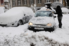 Unexpected massive snowfall paralysed the city Royalty Free Stock Photos