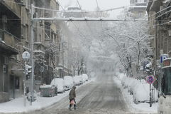 Unexpected massive snowfall paralysed the city Royalty Free Stock Photography
