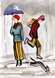 Downpour. The unexpected rain, the boy and cat escape, the woman under an umbrella  does not hasten Royalty Free Stock Photo