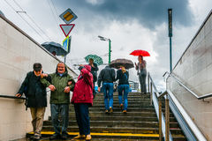 Unexpected rain and tourists Stock Image