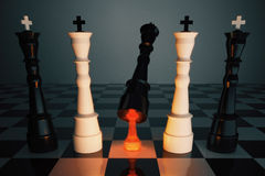 Unexpected victory concept with chess king and glowing pawn Royalty Free Stock Photo