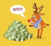 Unexpected Wealth Cartoon Flat Vector Concept. Unexpected wealth cartoon concept. Surprised horned reindeer standing under big pile of money with speak cloud Stock Photo
