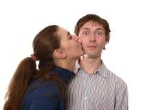 unexpexted kyss Fotografering för Bildbyråer