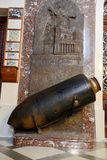 Unexploded bomb from the Second World War on Mosta church. Unexploded bomb from the Second World War on the Church of the Assumption of Our Lady at Mosta, Malta Stock Image