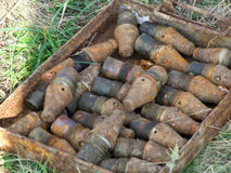 An unexploded bomb from World War II. Found in the ground Stock Photos