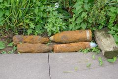 Unexploded Bombs from WW1 still being found near Ypres. In Belgium Stock Image