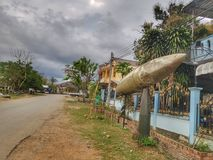 Unexplore bomb in Laos. This unexplored bomb From war used to decorate houses in Xiengkhoung province, Laos Royalty Free Stock Photography