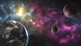 Unexplored planeter av faraway utrymme Bild för djupt utrymme, vetenskap f stock illustrationer