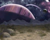 Unexplored planeter mot bakgrunden av det jordiska LANt vektor illustrationer