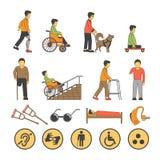 Unfähigkeitsbehinderte menschen mit begrenzten körperlichen Gelegenheiten vector Ikonen stock abbildung