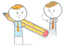 Unfair competition concept. Doodle stick figure:Businessman dismiss competitor with eraser Royalty Free Stock Images