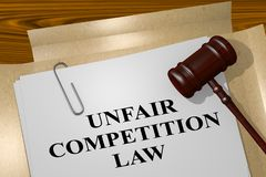 Unfair Competition Law concept. 3D illustration of UNFAIR COMPETITION LAW title on legal document Royalty Free Stock Image
