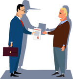 Unfair contract. A guileful businessman handling a contract to a naive customer, his shadow showing a long lair's nose Stock Photo