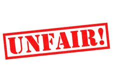 UNFAIR. Red Rubber Stamp over a white background Stock Photos
