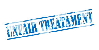 Unfair treatament blue stamp. Isolated on white background Royalty Free Stock Photography