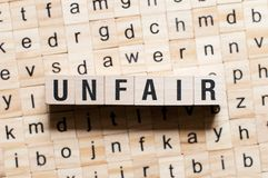 Unfair word concept royalty free stock photos