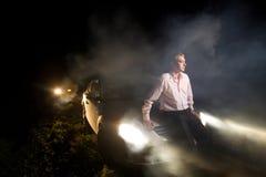 Unfall in der Nacht Stockfotos