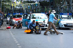 Unfall in der Präsidentenradtour von der Türkei 2014 Stockfotos