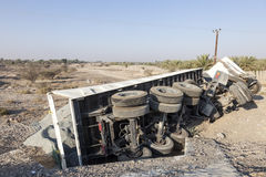 Unfall eines LKWs Stockfotos